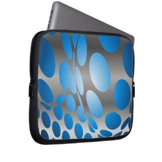 Funda Para Portátil Puntos azules deformados en la plata