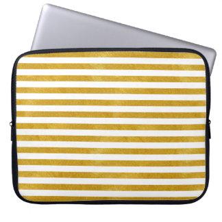 Funda Para Portátil Raya elegante del oro - personalizado su color