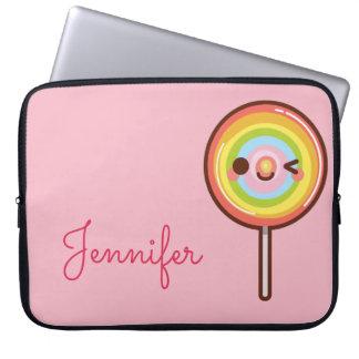 Funda Para Portátil Rosa lindo estupendo del monograma del lollipop