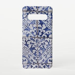 Funda Para Samsung Galaxy S10 Baldosas portuguesas - Azulejo Floral Azul y Blanc