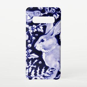 Funda Para Samsung Galaxy S10 Bunny Bird Chinoiserie, conejo blanco y azul de la