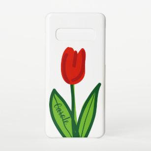 Funda Para Samsung Galaxy S10 Diseño artístico moderno de tuliptos rojos Zazzl
