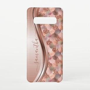 Funda Para Samsung Galaxy S10 Mermaid Scales Rosa Gold Nombre escrito a mano Met