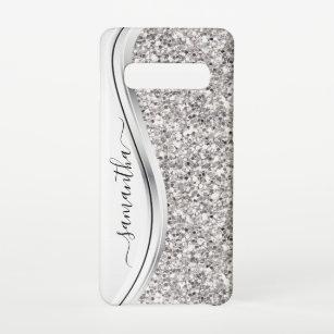 Funda Para Samsung Galaxy S10 Monograma manuscrito del Purpurina metálico blanc