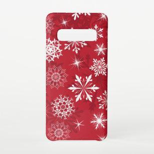 Funda Para Samsung Galaxy S10 Navidades de patrón de copos de nieve rojos
