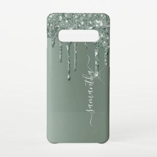Funda Para Samsung Galaxy S10 Nombre escrito a mano Aspecto de Purpurina Metaliz