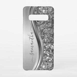 Funda Para Samsung Galaxy S10 Nombre escrito a mano Purpurina Metalizado Faux Si