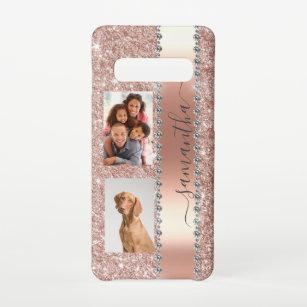 Funda Para Samsung Galaxy S10 Purpurina fotográfico Diamond Nombre Monograma Ro