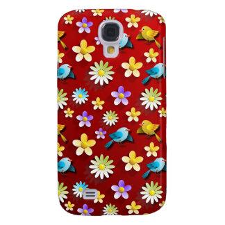 Funda Para Samsung Galaxy S4 Pájaros y flores de la primavera roja