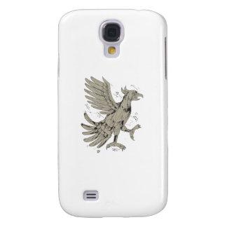 Funda Para Samsung Galaxy S4 Polígono bajo del símbolo de Cuauhtli Glifo Eagle