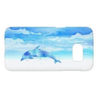 Funda Para Samsung Galaxy S7 Acuarela del delfín y del cielo
