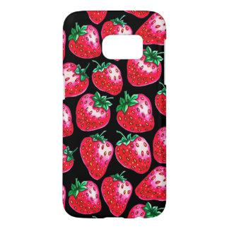 Funda Para Samsung Galaxy S7 Fresa roja en fondo negro
