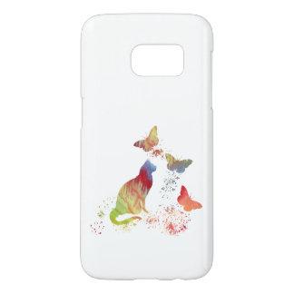 Funda Para Samsung Galaxy S7 Gato y mariposas