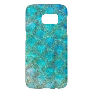 Funda Para Samsung Galaxy S7 Mar Mermaidscales de la aguamarina con el marco