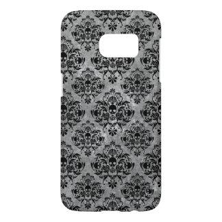 Funda Para Samsung Galaxy S7 Mini gris del negro del modelo del damasco del