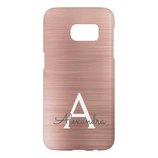 Funda Para Samsung Galaxy S7 Monograma color de rosa rosado del acero