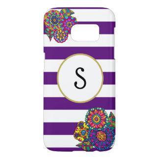 Funda Para Samsung Galaxy S7 Monograma rayado blanco púrpura del oro de las