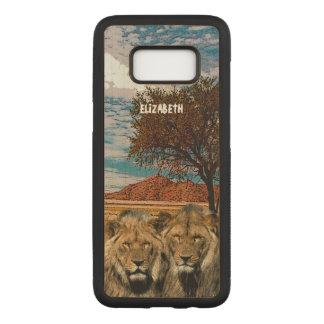 Funda Para Samsung Galaxy S8 De Carved Dos leones salvajes en fondo africano de la sabana