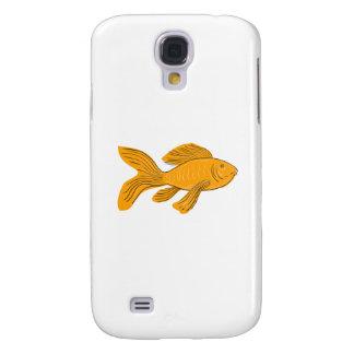 Funda Para Samsung S4 Dibujo de la natación de Koi de la mariposa del