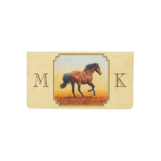 Funda Para Talonario De Cheques Amarillo corriente del caballo de bahía