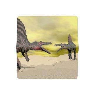 Funda Para Talonario De Cheques Lucha del dinosaurio de Spinosaurus - 3D rinden