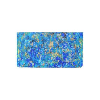 Funda Para Talonario De Cheques Modelo hermoso azul del mar elegante con el cordón