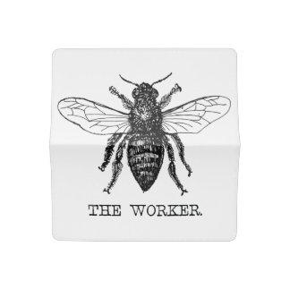 Funda Para Talonario De Cheques Vintage del abejorro de la abeja de trabajador de