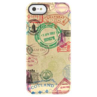 Funda Permafrost® Para iPhone SE/5/5s El pasaporte del vintage sella la caja de la capa