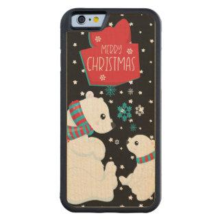 Funda Protectora De Arce Para iPhone 6 De Carved Dos Felices Navidad de los osos polares