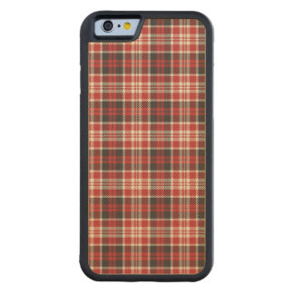 Funda Protectora De Arce Para iPhone 6 De Carved Modelo rojo y negro de la tela escocesa