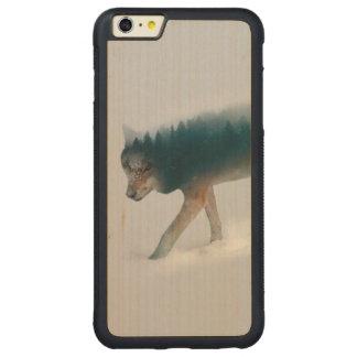 Funda Protectora De Arce Para iPhone 6 Plus De Car Exposición doble del lobo - bosque del lobo - lobo