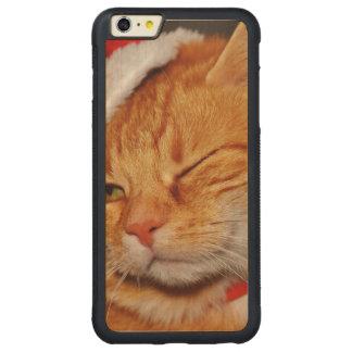 Funda Protectora De Arce Para iPhone 6 Plus De Car Gato anaranjado - gato de Papá Noel - Felices