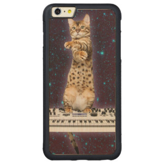 Funda Protectora De Arce Para iPhone 6 Plus De Car gato del teclado - gatos divertidos - amantes del