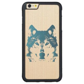 Funda Protectora De Arce Para iPhone 6 Plus De Car Lobo de los azules claros del ilustracion
