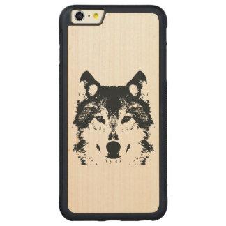Funda Protectora De Arce Para iPhone 6 Plus De Car Lobo negro del ilustracion