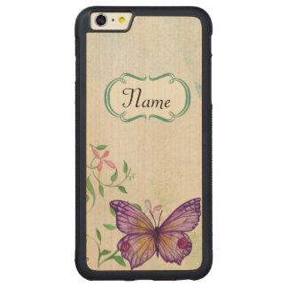 Funda Protectora De Arce Para iPhone 6 Plus De Car Mariposa del vintage floral