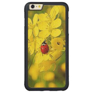 Funda Protectora De Arce Para iPhone 6 Plus De Car Mariquita amarilla del rojo de la buena suerte de