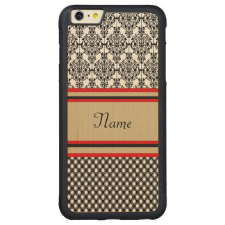 Funda Protectora De Arce Para iPhone 6 Plus De Car Monograma negro del damasco