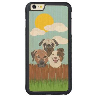 Funda Protectora De Arce Para iPhone 6 Plus De Car Perros afortunados del ilustracion en una cerca de