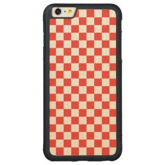 Funda Protectora De Arce Para iPhone 6 Plus De Car Tablero de damas rojo