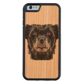 Funda Protectora De Cerezo Para iPhone 6 De Carved Cabeza de perro negro del demonio
