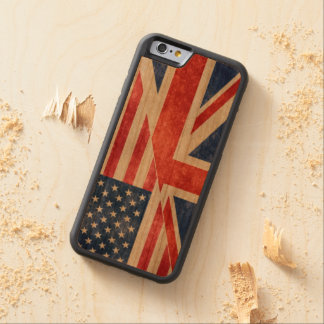 Funda Protectora De Cerezo Para iPhone 6 De Carved Caso de madera del iPhone de la bandera retra de