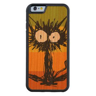 Funda Protectora De Cerezo Para iPhone 6 De Carved Naranja del gato del susto colorido