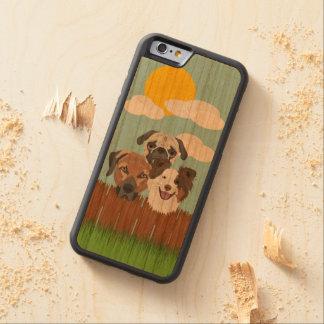 Funda Protectora De Cerezo Para iPhone 6 De Carved Perros afortunados del ilustracion en una cerca de