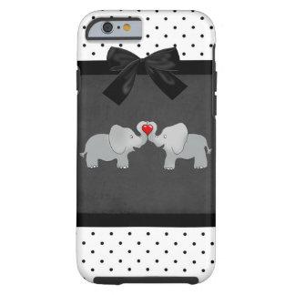 Funda Resistente iPhone 6 Elefantes adorables lindos, lunares, arco negro