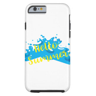 Funda Resistente iPhone 6 Hola verano, gráfico de las ondas, blanco fresco