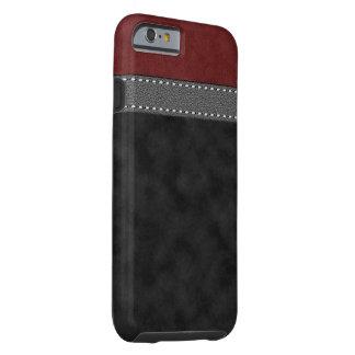 Funda Resistente iPhone 6 Impresión cosida cuero gris ante negro rojo de la