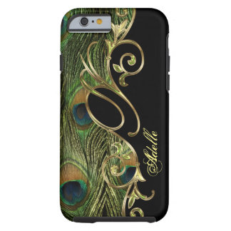 Funda Resistente iPhone 6 Monograma de oro de Iphone 6 del pavo real
