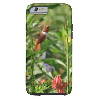 Funda Resistente iPhone 6 oro y flores verdes del rojo del colibrí