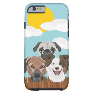 Funda Resistente iPhone 6 Perros afortunados del ilustracion en una cerca de